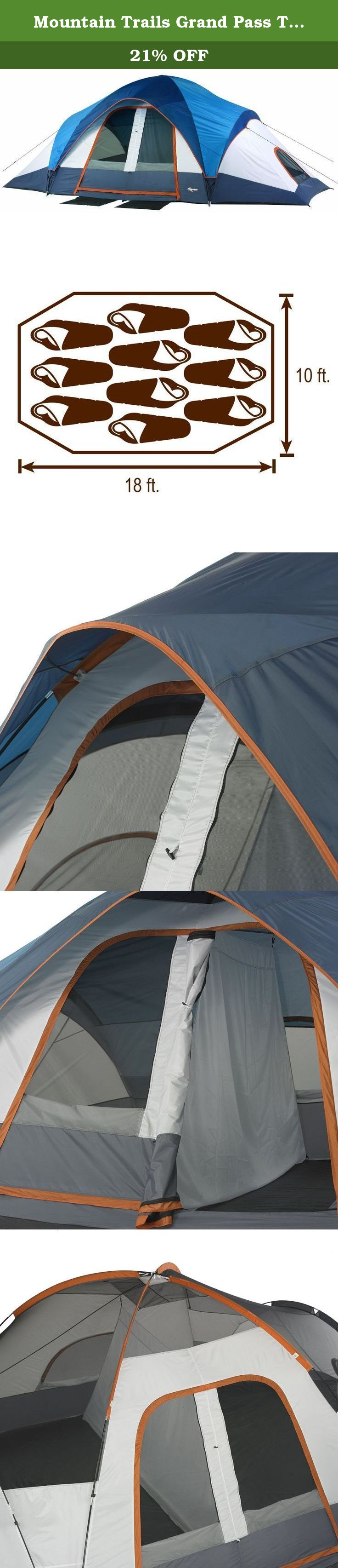 Mountain Trails Grand Pass Tent 10 Person Mountain Trails Grand Pass 2 Room Family Dome Tent Sleeps 9 To 10 People Comfor Family Tent Camping Tent Dome Tent