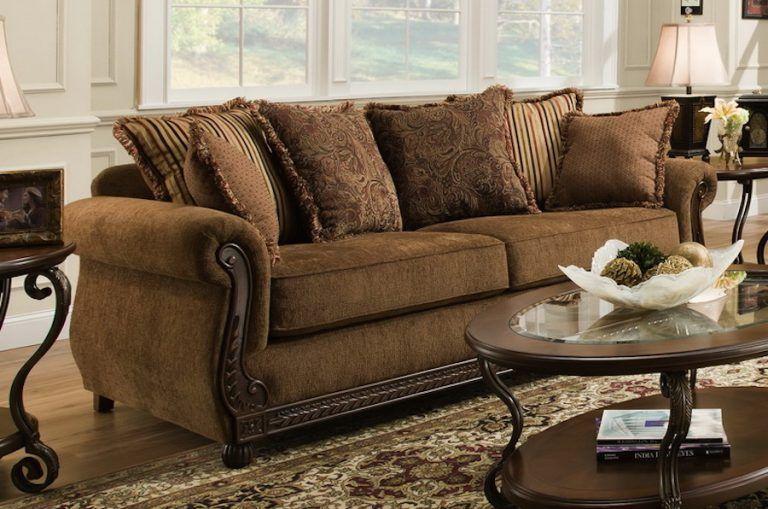 traditional sofa w wood panel front  diy living room