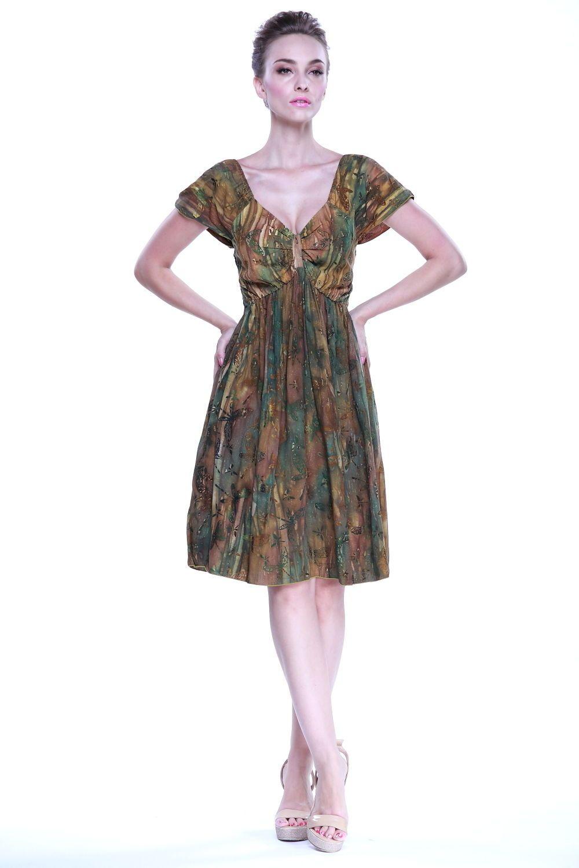 Sundress cute elastic batik hand print rahee luau dress sleeve brown