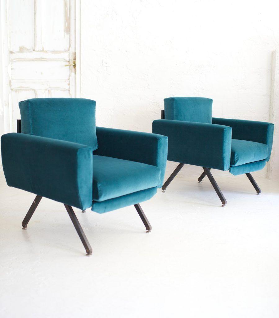 Pareja de butacas italianas años 50 azul verdoso - Rue Vintage 74 ...