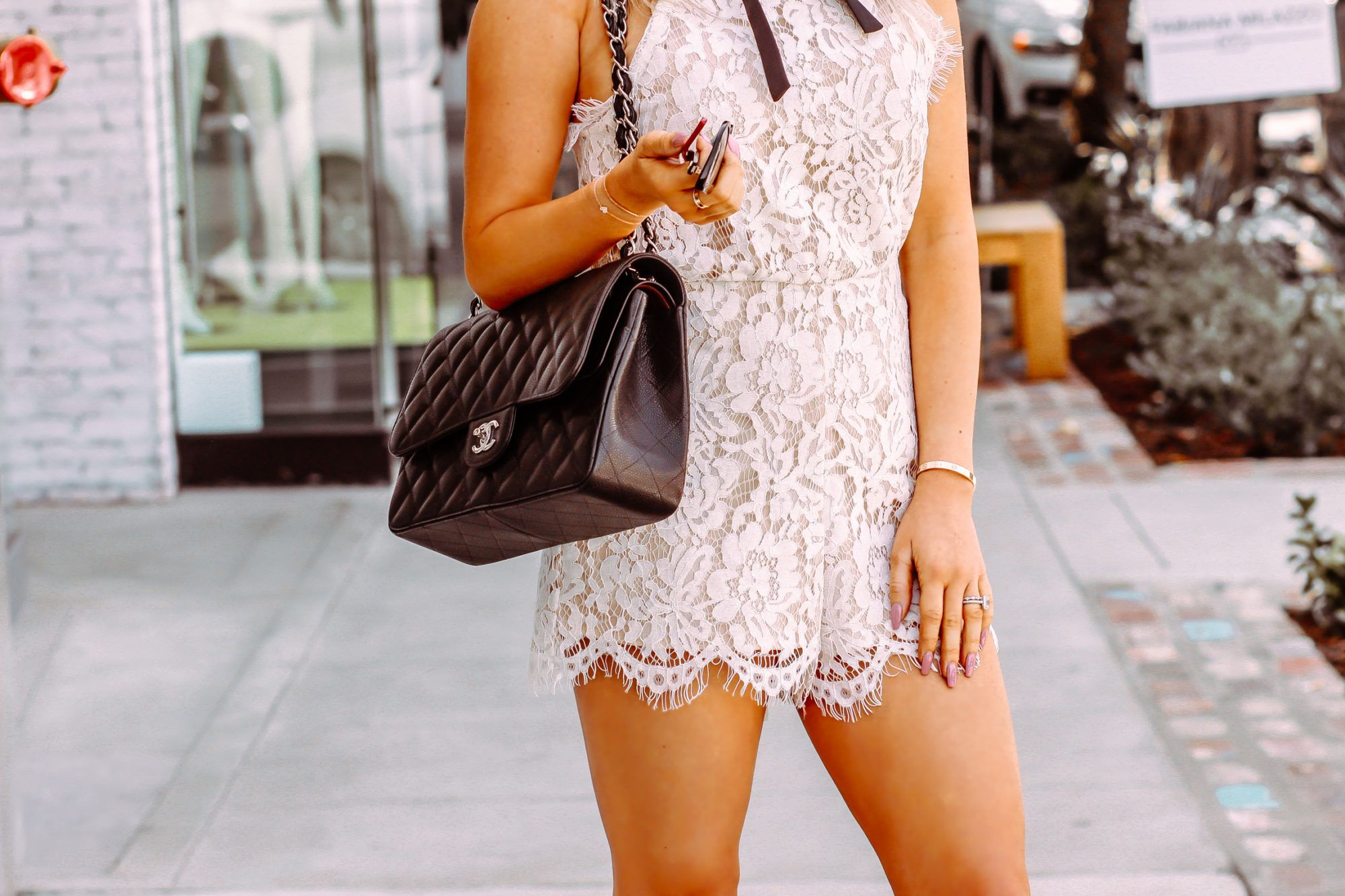 be4978c35986 White Lace Romper - Bridal Shower Outfit Inspo - Blondie in the City