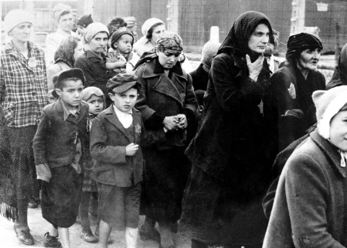 Hungarian Jews Recent Arrivals At Auschwitz Birkenau Concentration Camp Who Were Not Selected