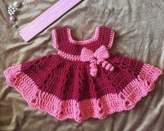 Crochet Baby Dress Set White And Yellow Baby Dress Headband And