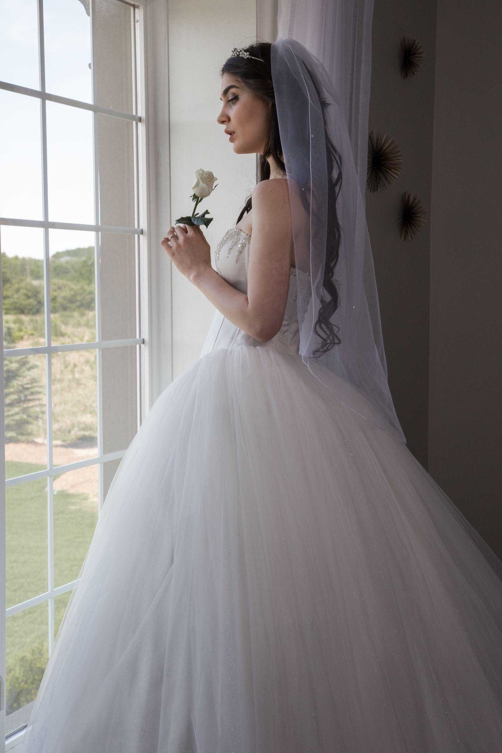 Ballgown Bridal Gown, with Corset Top Tulle Skirt and