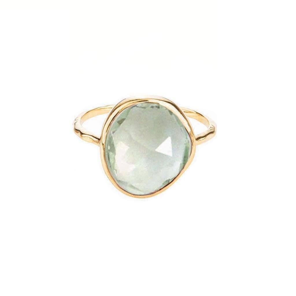 Gold square gemstone ring,chalcedony ring,semiprecious ring,delicate stone ring,gold ring for woman,14k gold ring