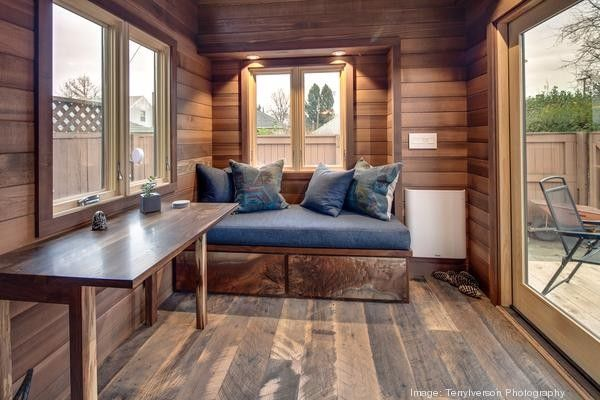 couples-backyard-tiny-house-on-wheels-07, I think its a Cider Box from  Shelter Wise - Couple Living In 160 Sq. Ft. Backyard Tiny House Homes N Tiny N