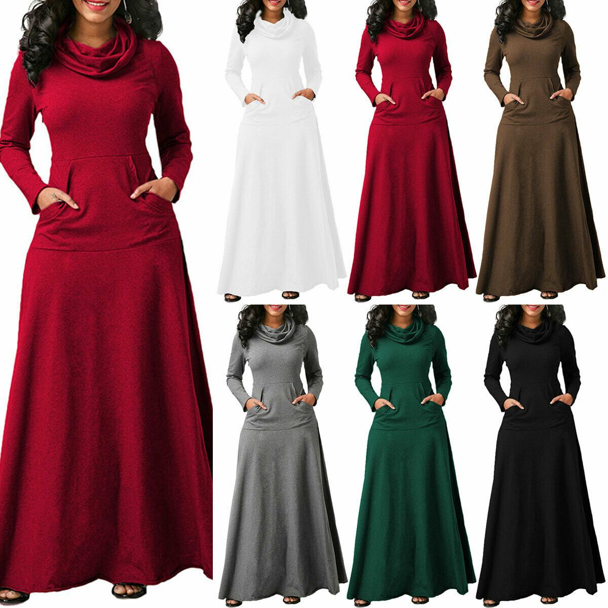 Womens Cowl Neck Maxi Dress Long Sleeve Casual Winter Long Party