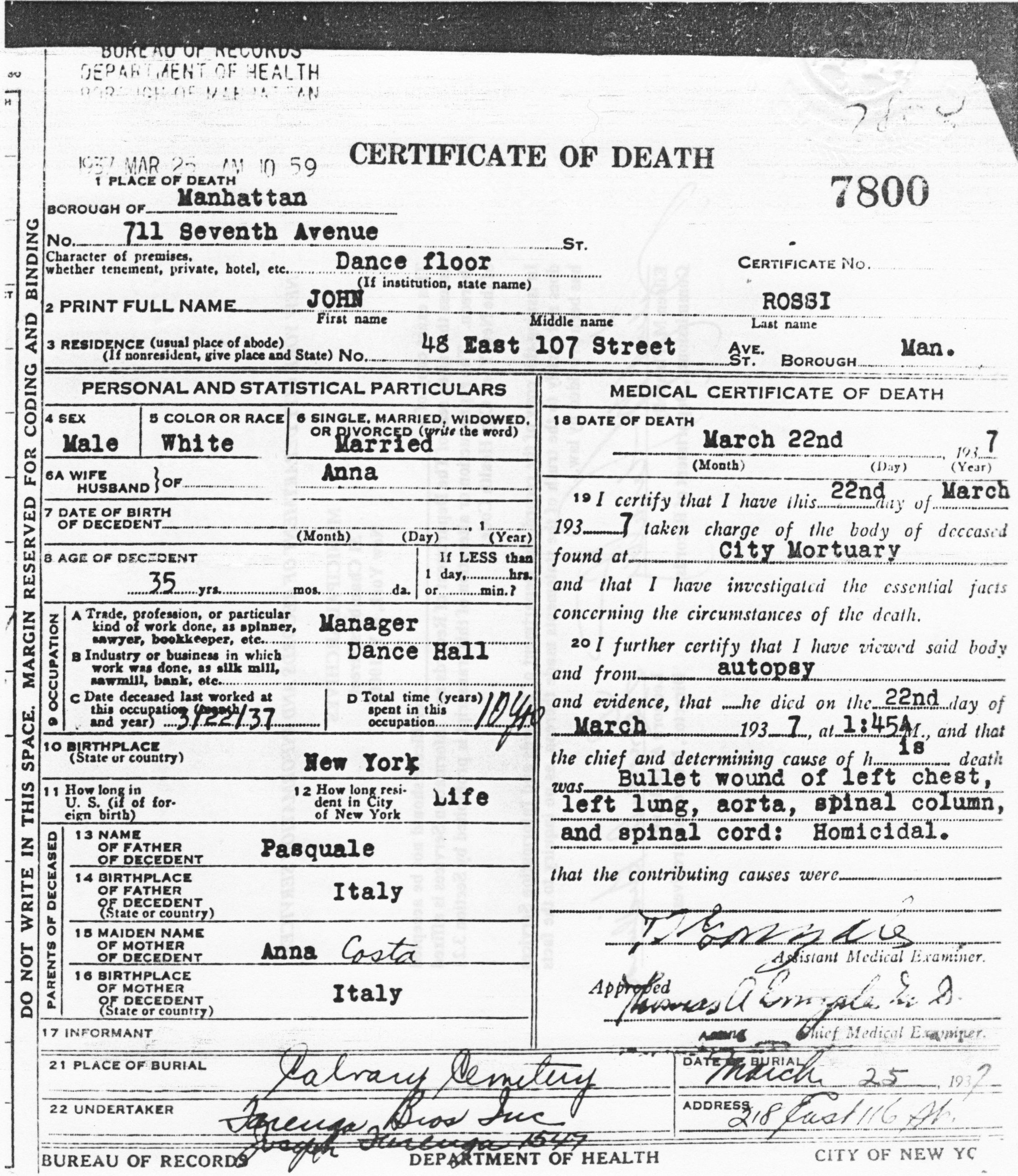 Birth certificate giovanni john rossi nyc gangster birth certificate aiddatafo Images