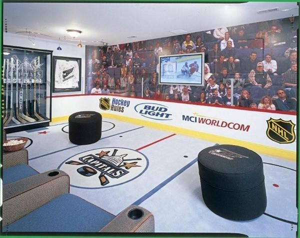 what would this post be without a few ideas for hockey themed man caves