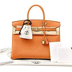 aa334e411b82 Hermes Birkin Bag 35 Togo Orange Women s Luxury Handbag 35-ORANGE-TOGO