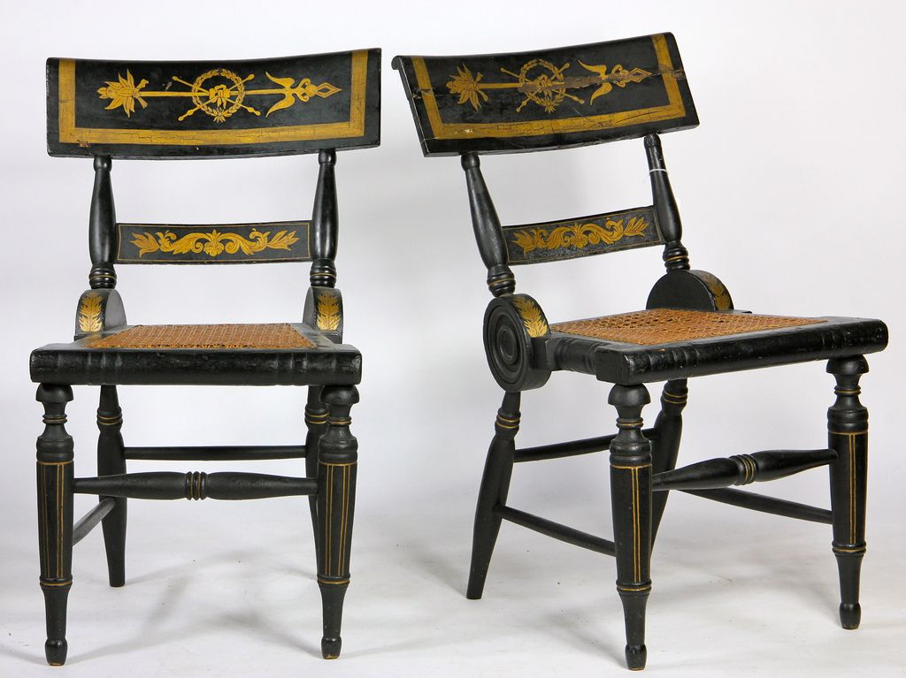 Antique Pair Federal/Baltimore Side Chairs c. - American Federal  Paint-Decorated Fancy - Antique Furniture Baltimore Antique Furniture