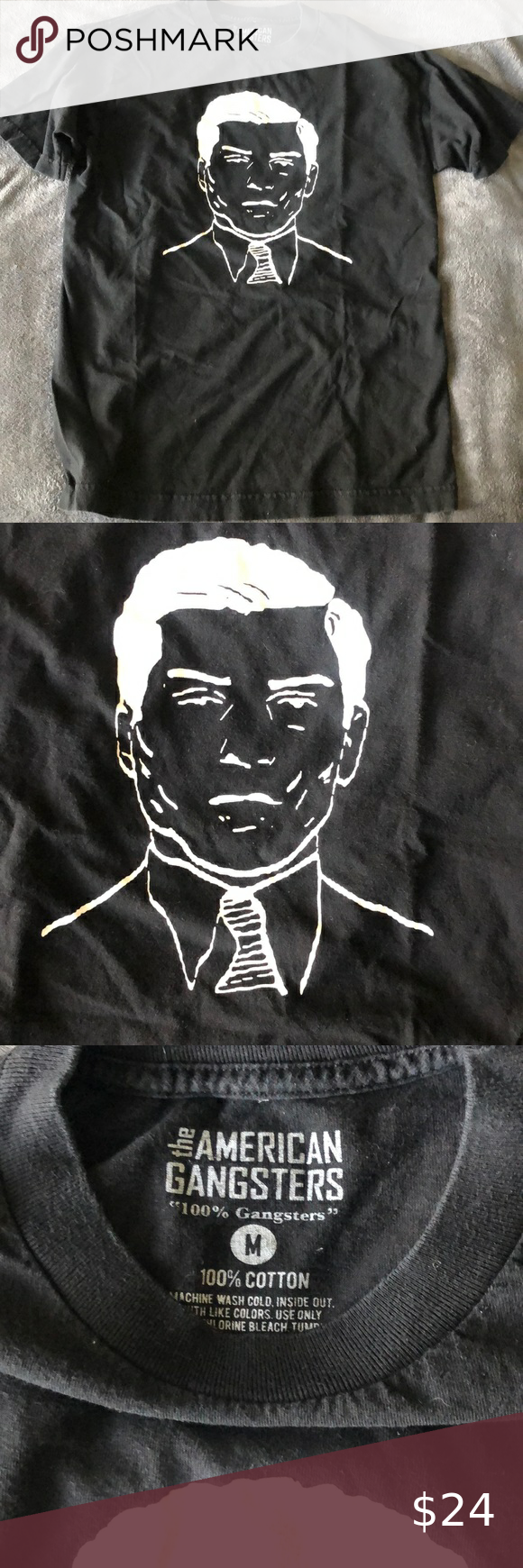 Lucky Luciano Shirt The American Gangsters Lucky Luciano Tee Size Medium Black With White Screen Print Graphic On Front The Shirts Gangster Shirt Tee Shirts
