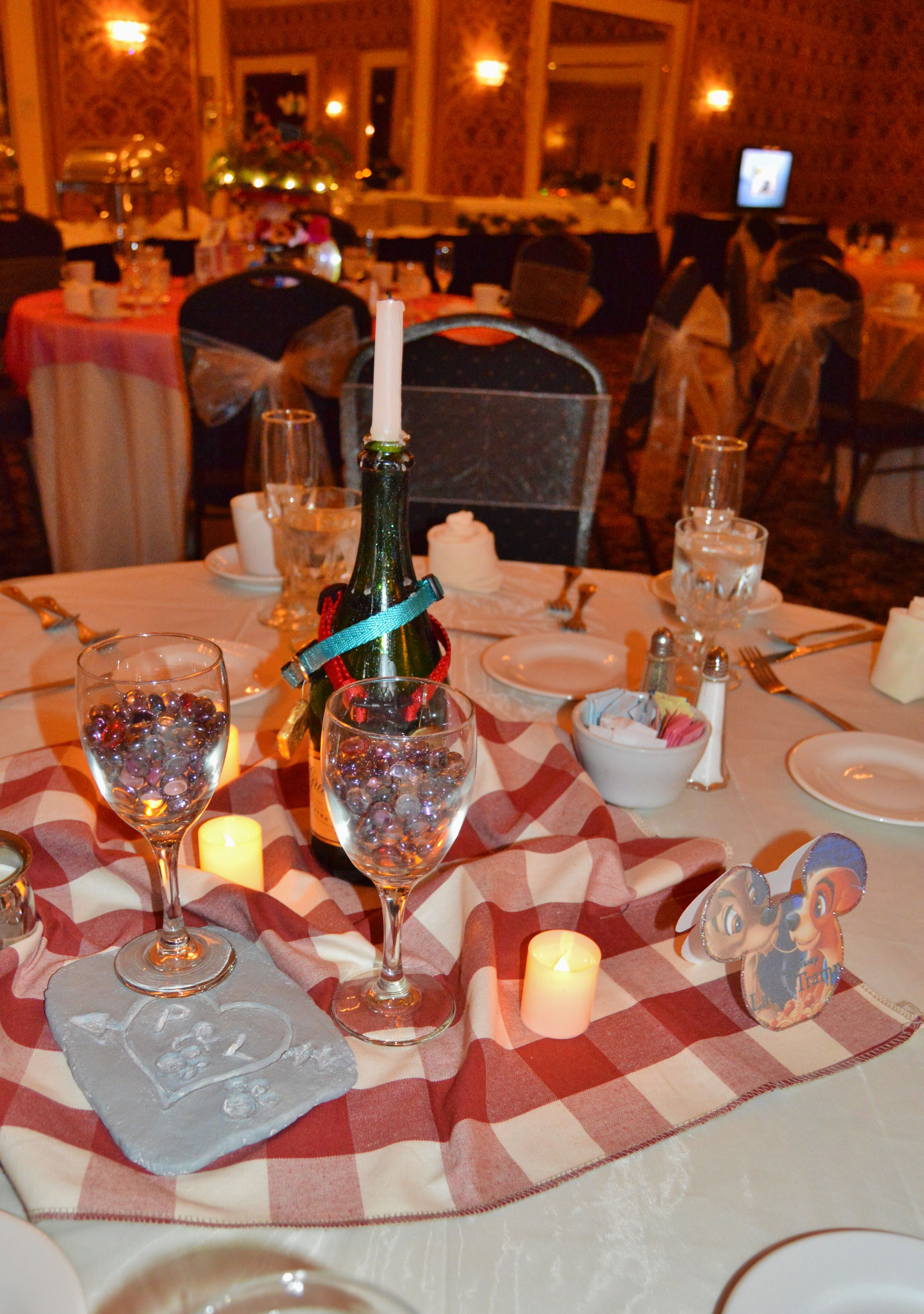 Disney Lady And The Tramp Inspired Centerpiece Disney Wedding Centerpieces Disney Wedding Theme Disney Centerpieces