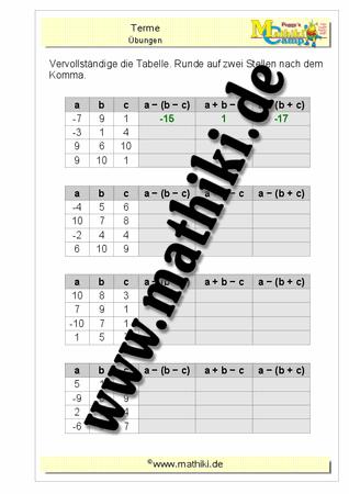 Termberechnung bei gegebenen drei Variablen - ©2016, www.mathiki.de ...