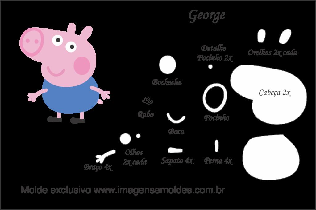 Molde Peppa Pig George Molde Para Feltro Eva E Artesanato