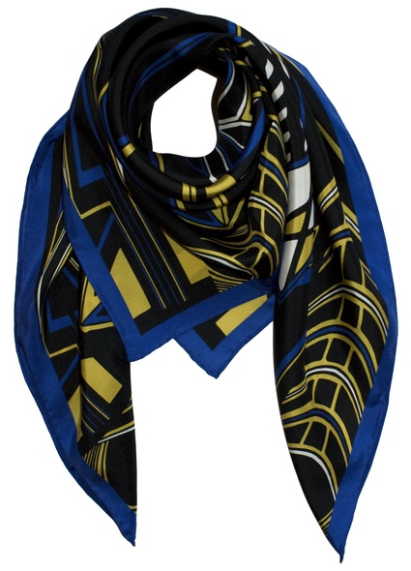 18e46bf6051 Foulard en soir noir à imprimé géometrique jaune