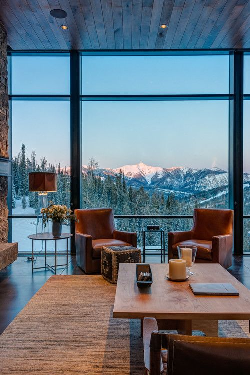 Neutral Living Room with a Mountain View #mountainhomes