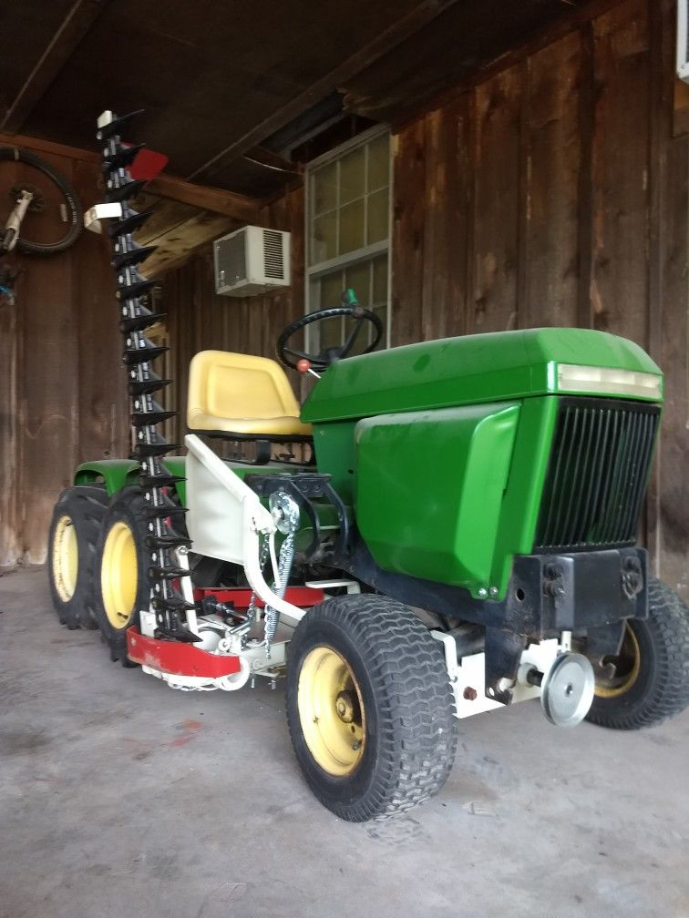 John Deere 317 tandem axle garden tractor with Haban Sickle Mower