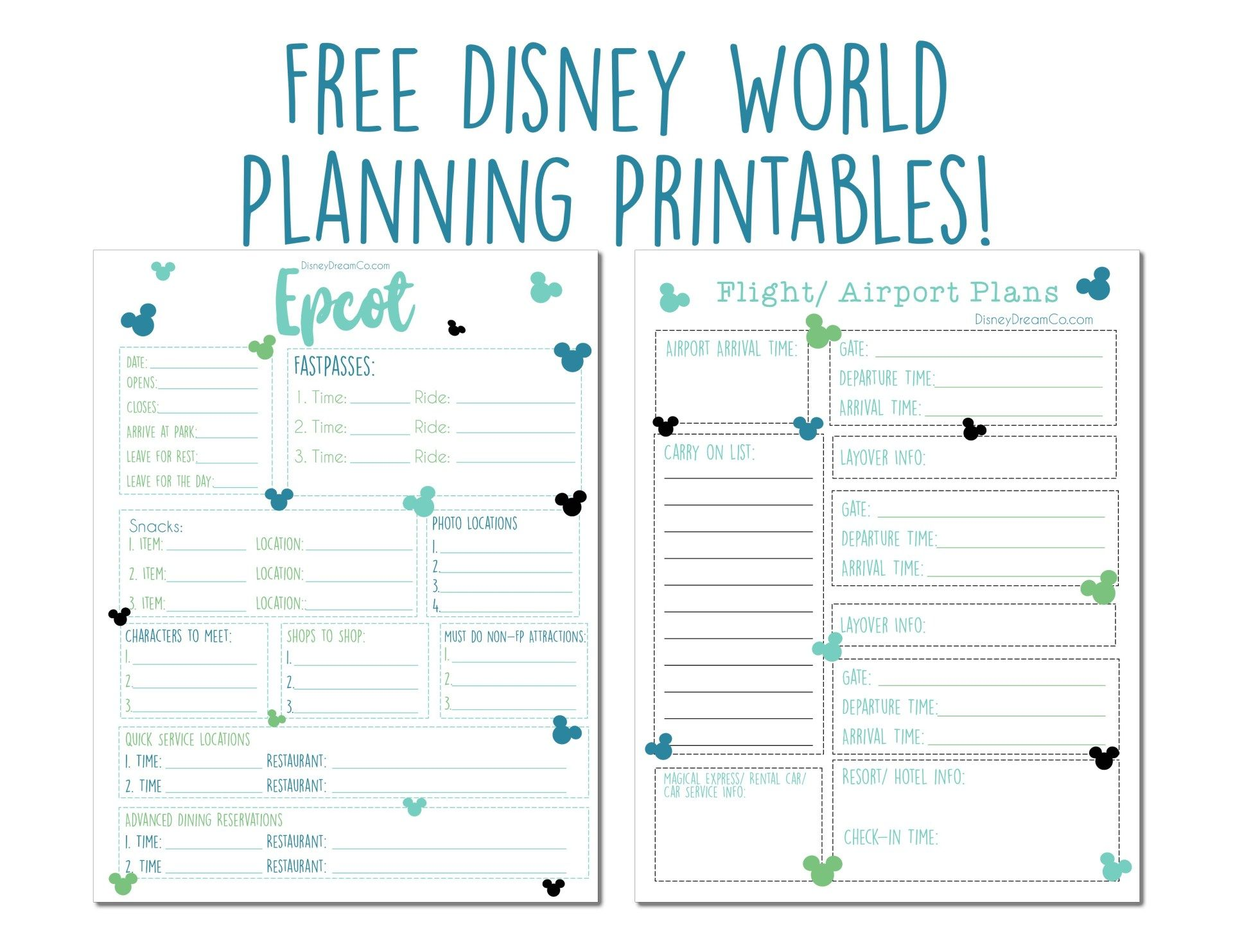 Disney World Free Planning Printables