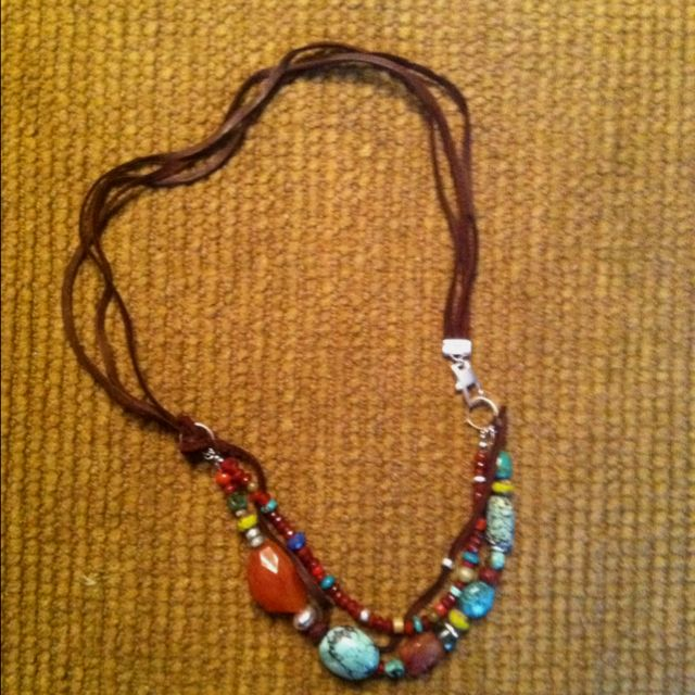 Turquoise, carnelian, silver, leather, lapis three strand necklace