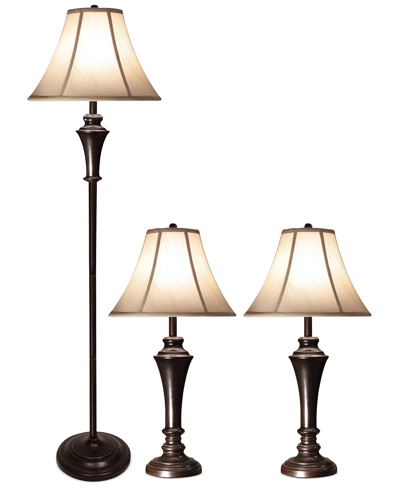 aged bronze steel set of 3 2 table lamps and 1 floor lamp