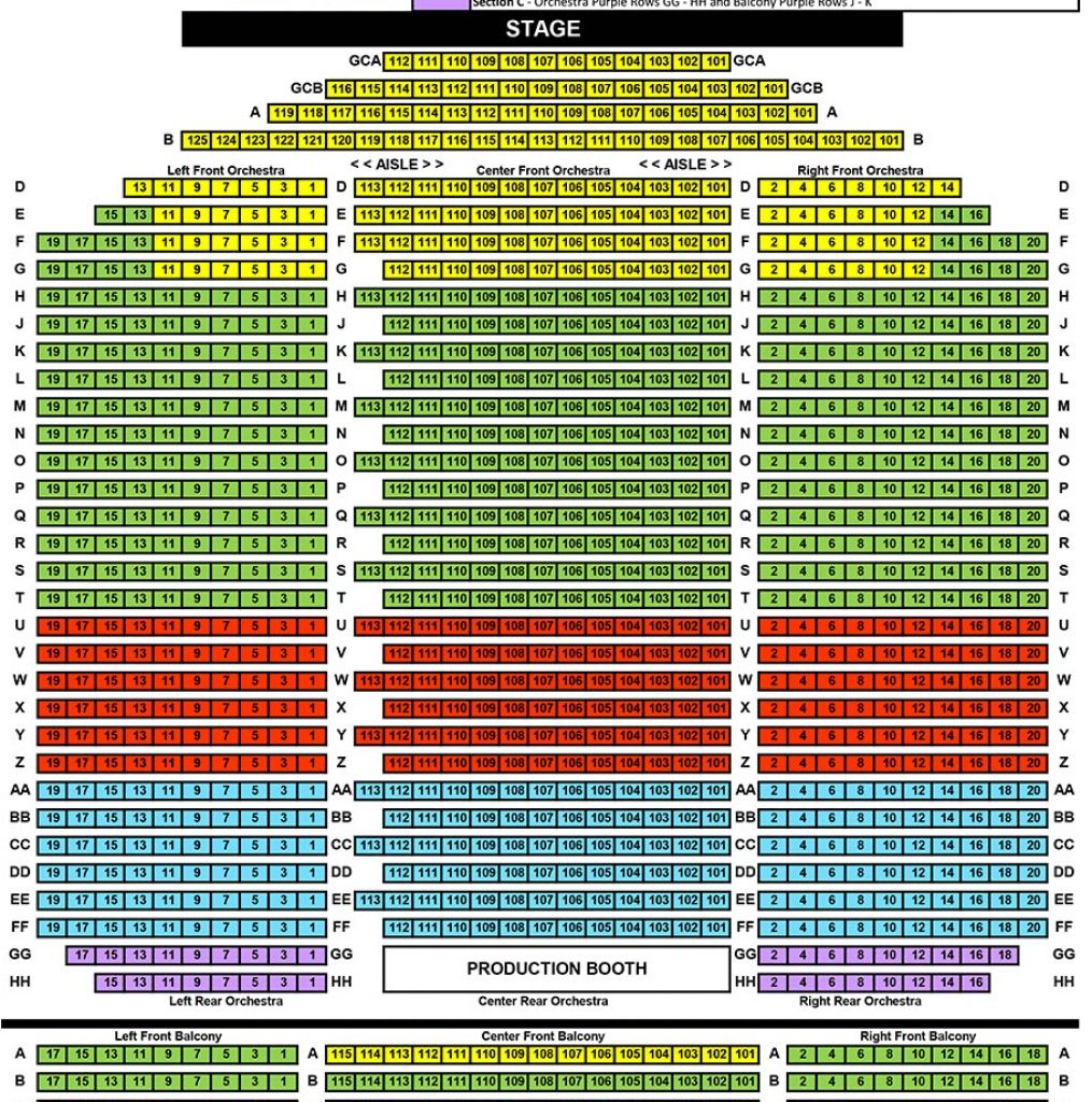 Amazing Performing Arts Center Seating Chart