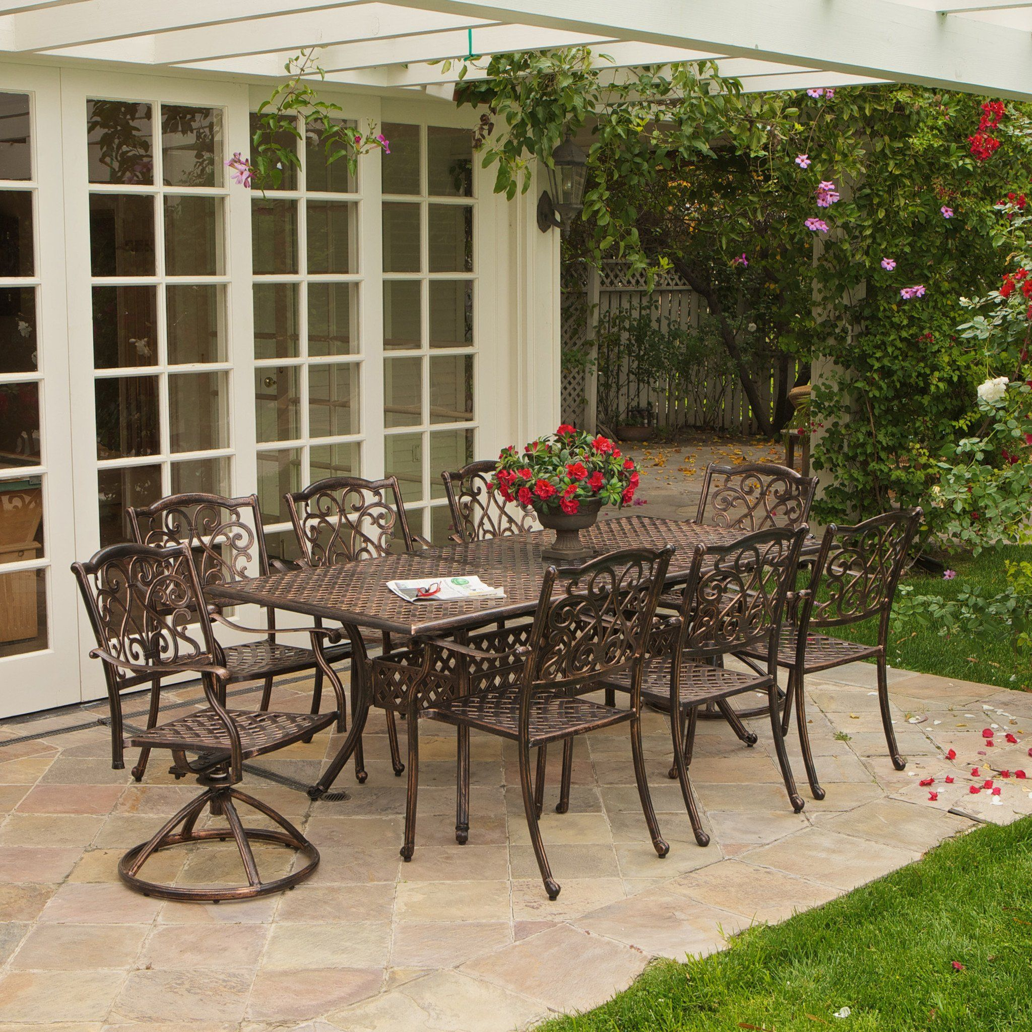 Florence 9Pc Cast Aluminum Outdoor Dining Set With Images 400 x 300