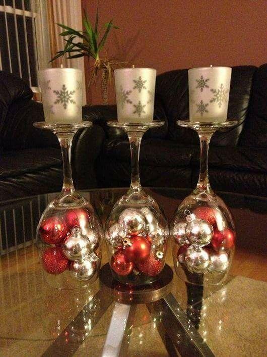 Ordinary Wine Glass Christmas Decorating Ideas Part - 4: DIY Christmas Decorations Upside Down Wine Glass.