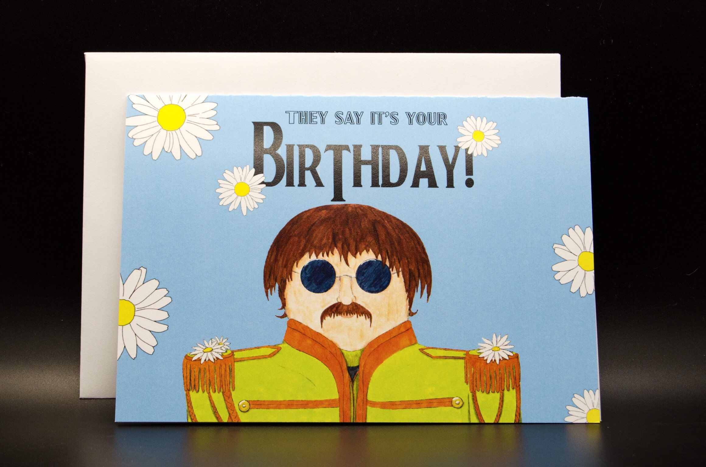 The Beatles Birthday Card Sergeant Peppers The Beatles Etsy Birthday Cards Funny Birthday Cards Fabric Cards