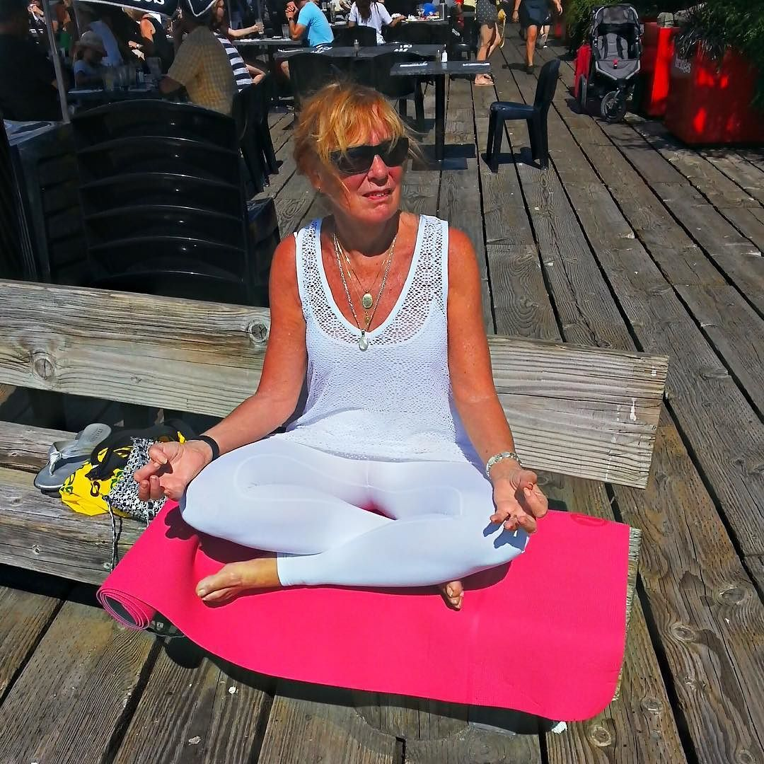 Barb is taking a zen moment in the sunshine and thinking about Bar on Granville Island! #barvanwheredoyoubar