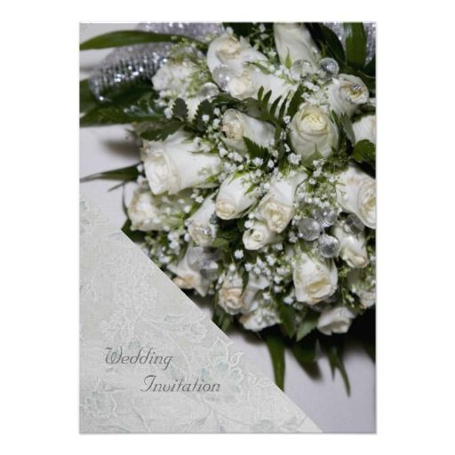 White Roses Bouquet Wedding Invitation by elenaind