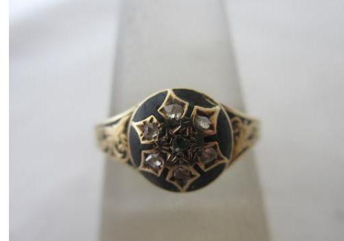 Antique c1820 Georgian 18ct Gold Rose Cut Diamond Black Enamel Mourning Ring GBP245