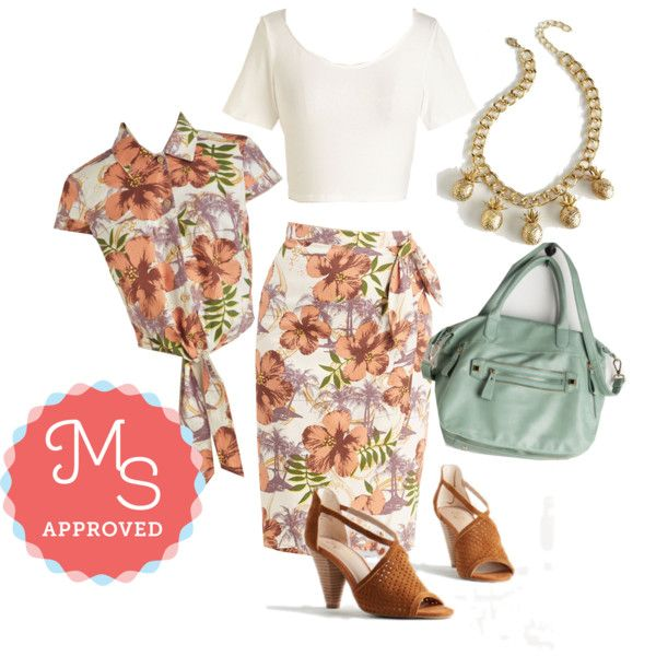 In this outfit: Lay of the Island Skirt, Lay of the Island Top, On Crop of the World Top in White, Variety is the Slice of Life Necklace, Style is Certain Bag, Gamble Heel in Caramel #island #coordinates #print #summer #ModCloth #ModStylist #fashion #style #ootd