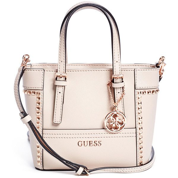 GUESS Delaney Studded Mini Tote ($65) ❤ liked on Polyvore featuring bags,  handbags