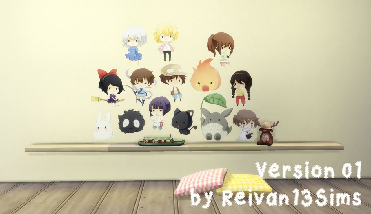 Reivans simblr more decals wall stickers for your sims 4 studio ghibli this