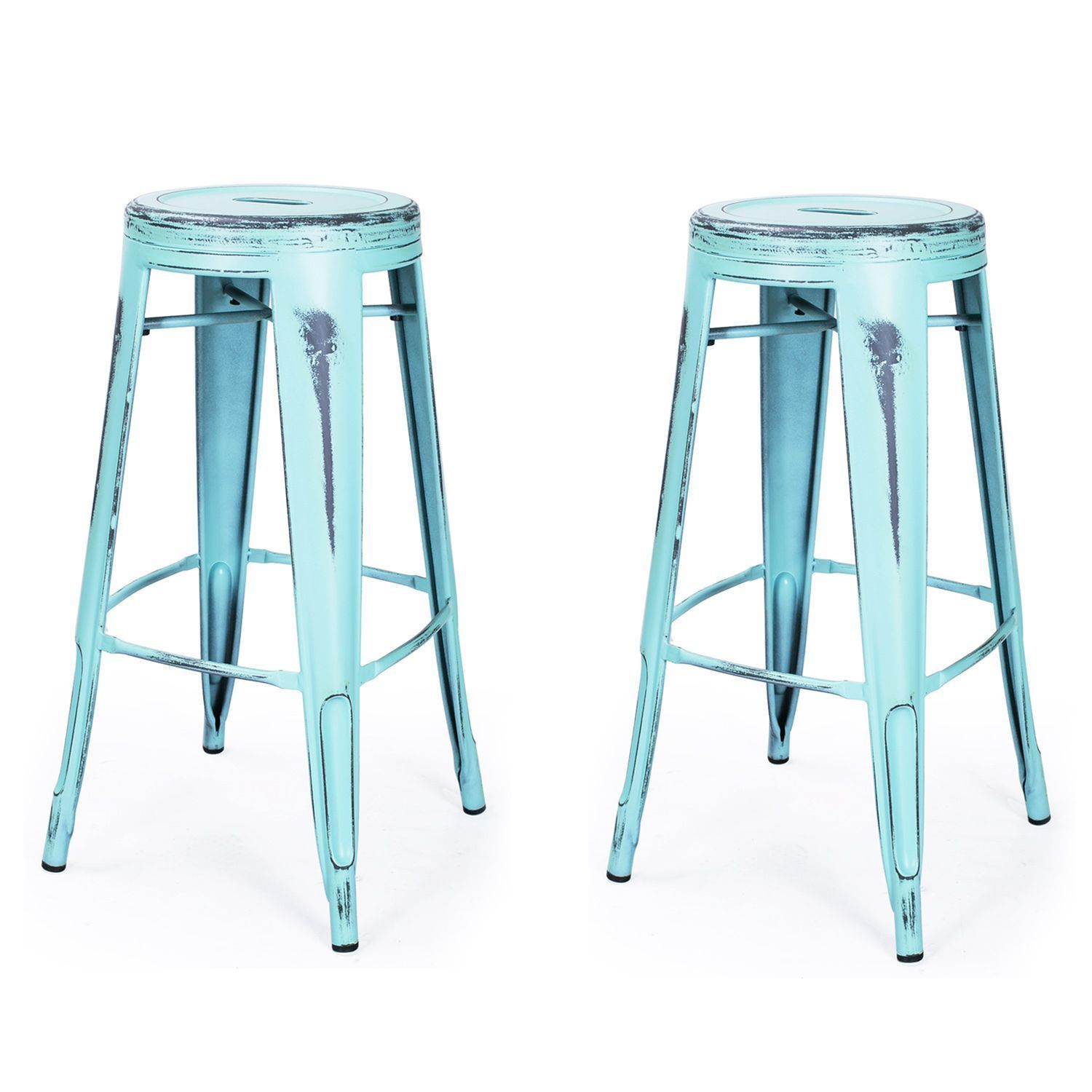 Adeco French Bistro Glossy Powder Coated Metal Bar Stools with ...