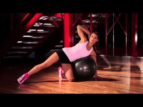 exercise ball workout with professional fitness trainer