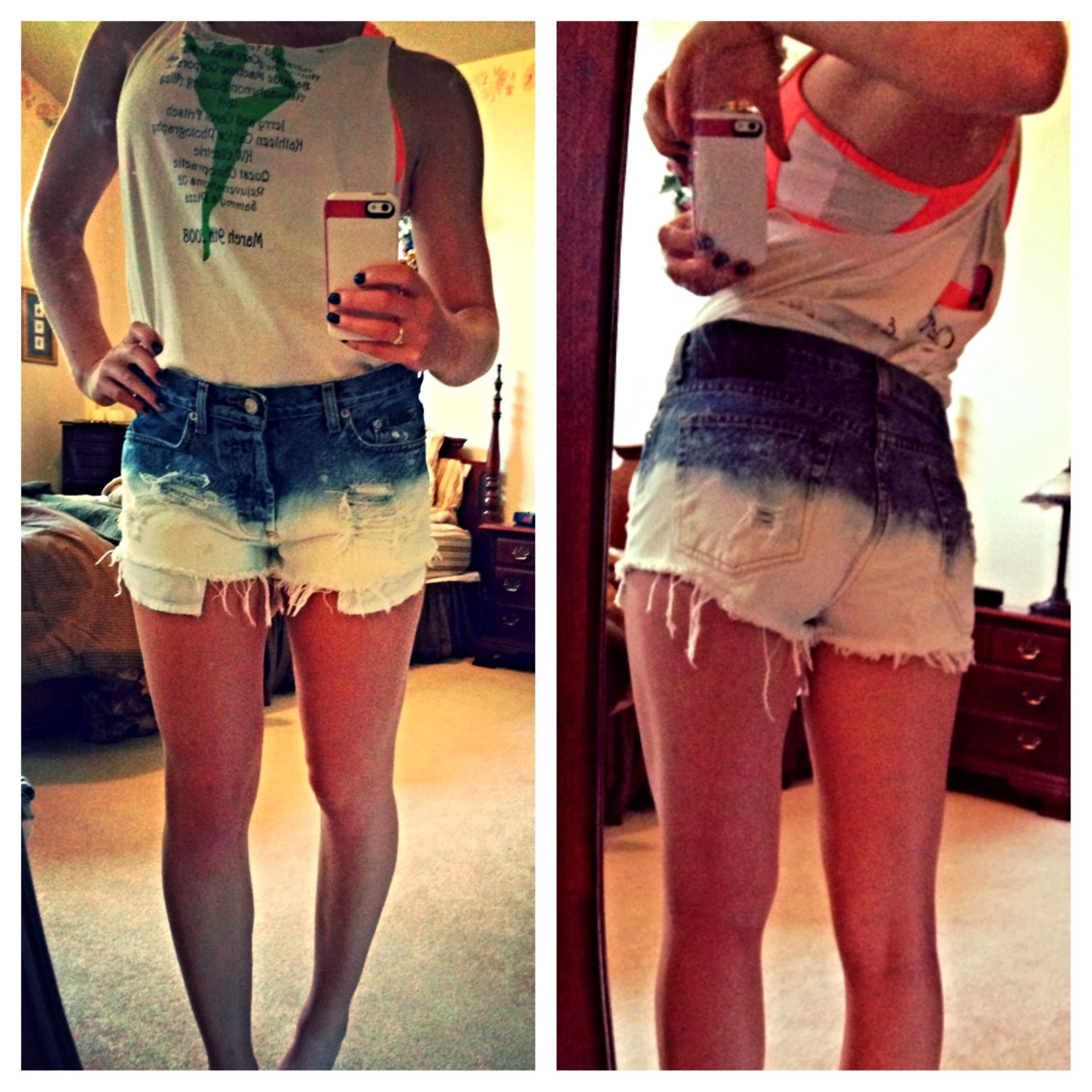 My DIY distressed bleached jean shorts | DIY | Pinterest | Jean ...