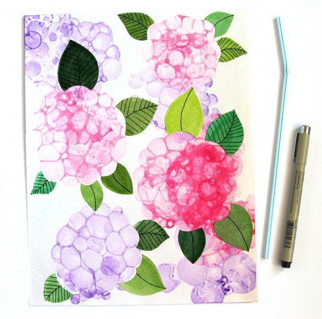 Bubble Paint Flower Hydrangeas