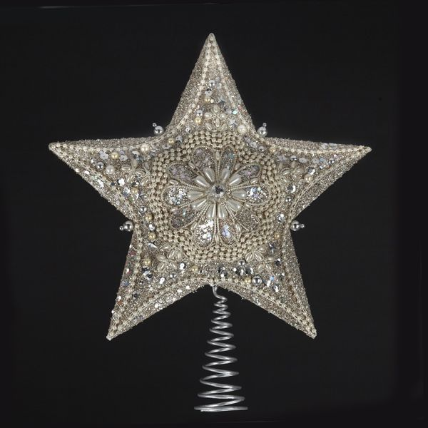 """13.5""""PLATINUM STAR #TREETOP W/GLITTER"""