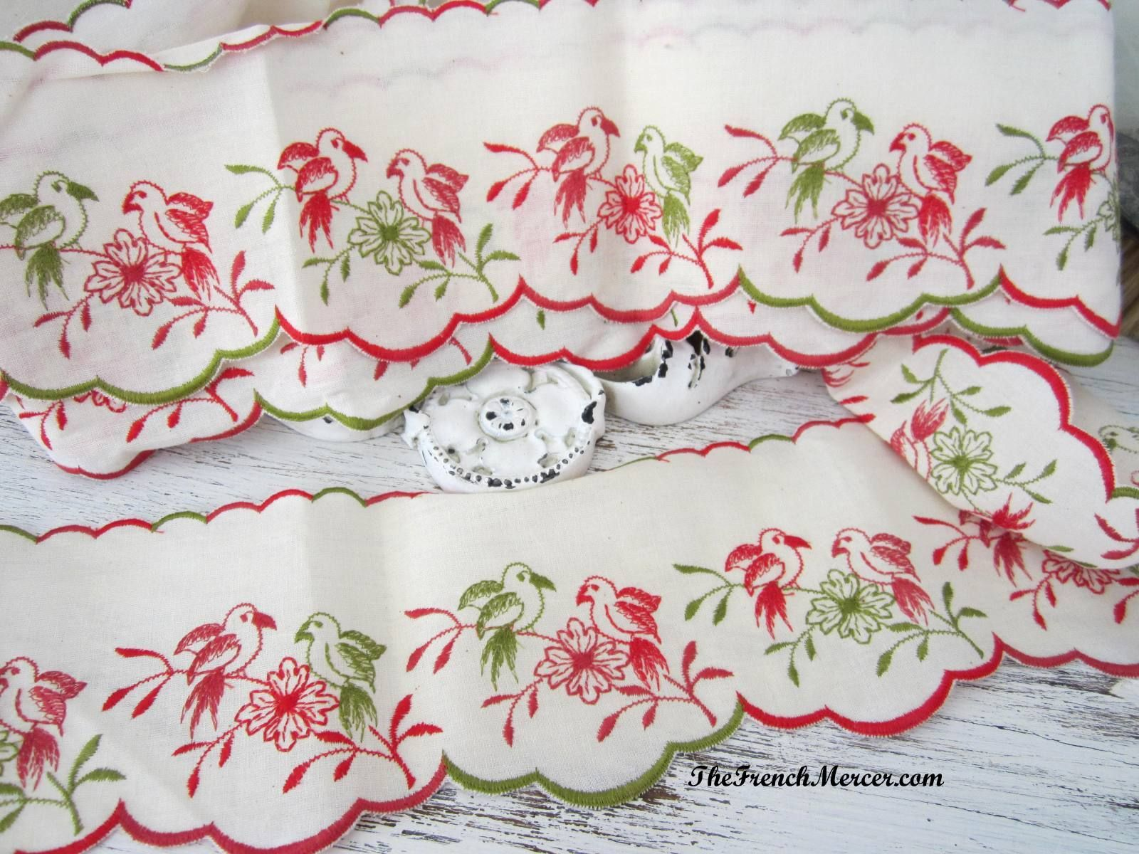 Gorgeous vintage french linen embroidered shelf trim