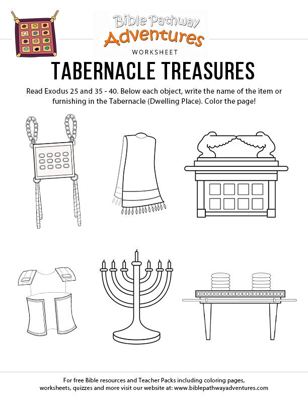 Tabernacle Treasures Worksheet For Kids Exodus Printable Free Download Bible For Kids Bible Worksheets The Tabernacle