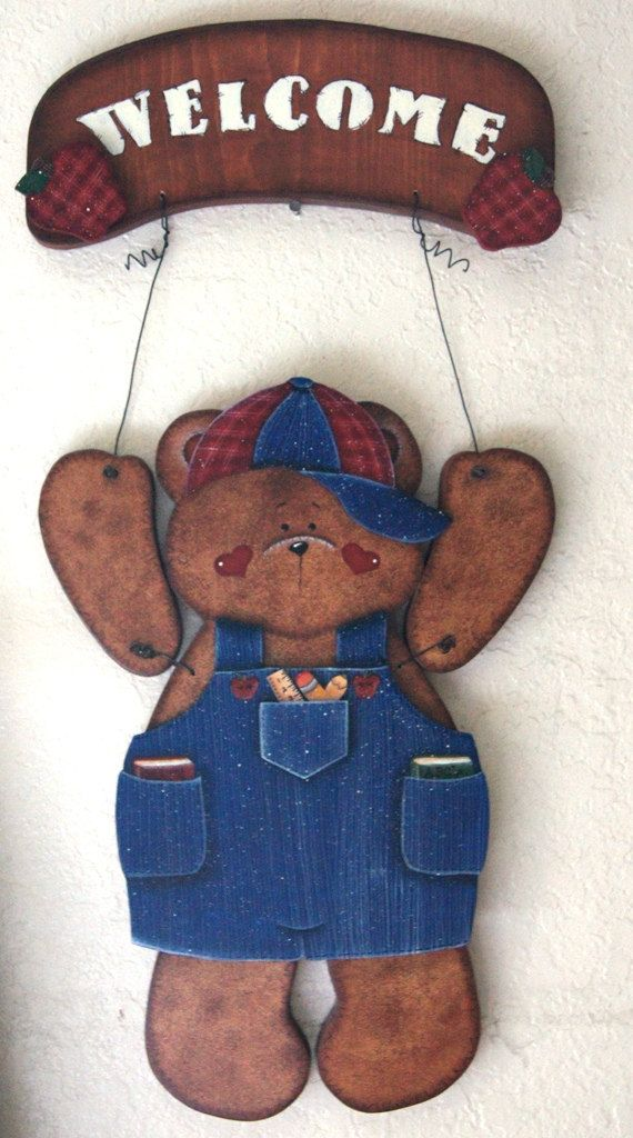 Back To School Wooden Seasonal Bear N Friends Etsy In 2021 Bear Outfits Bear Crafts Teddy Bear Clothes