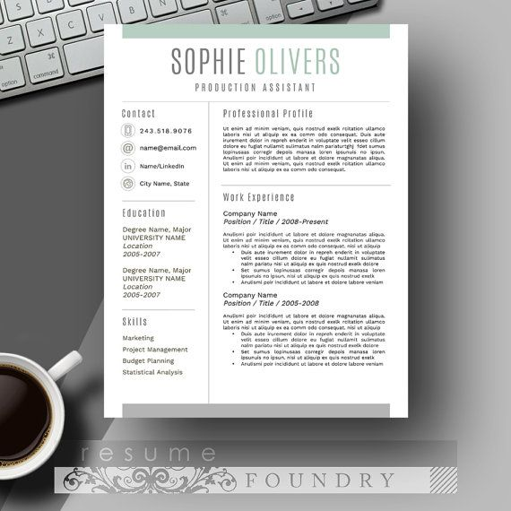 Stylish Resume Template  The Sophie  Cv Template Modern Resume