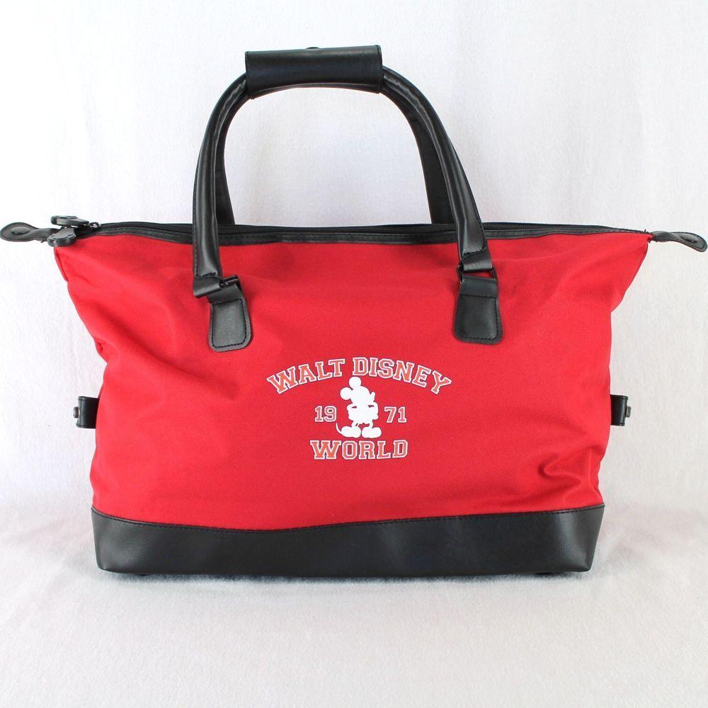 Walt Disney World Duffle Bag Red Black Mickey Mouse Gym Tote Carry On Travel Disneyworld