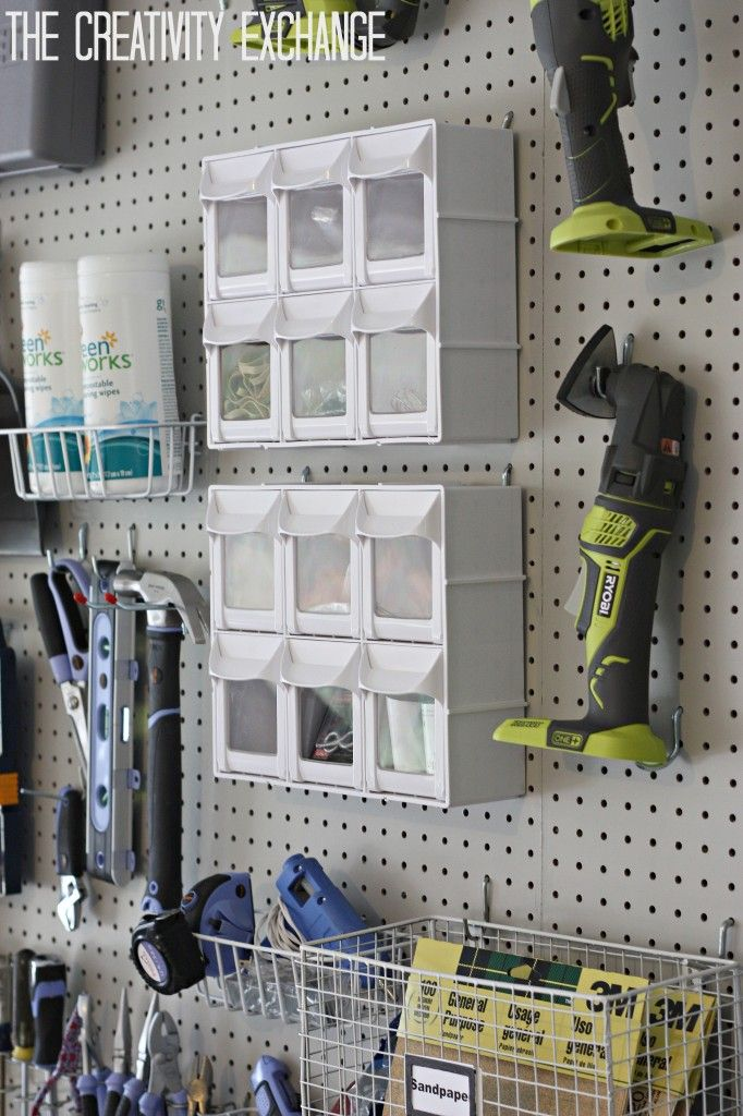 DIY Garage Pegboard Storage Wall- The Creativity Exchange - bins from the Container Store baskets from Home Depot u0026 Tuesday Morning & Organizing the Garage with DIY Pegboard Storage Wall | Pegboard ...