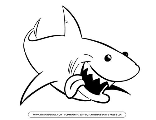 Free Cartoon Shark Clipart Shark Outline And Shark Silhouette Shark Coloring Pages Animal Coloring Pages Fish Coloring Page