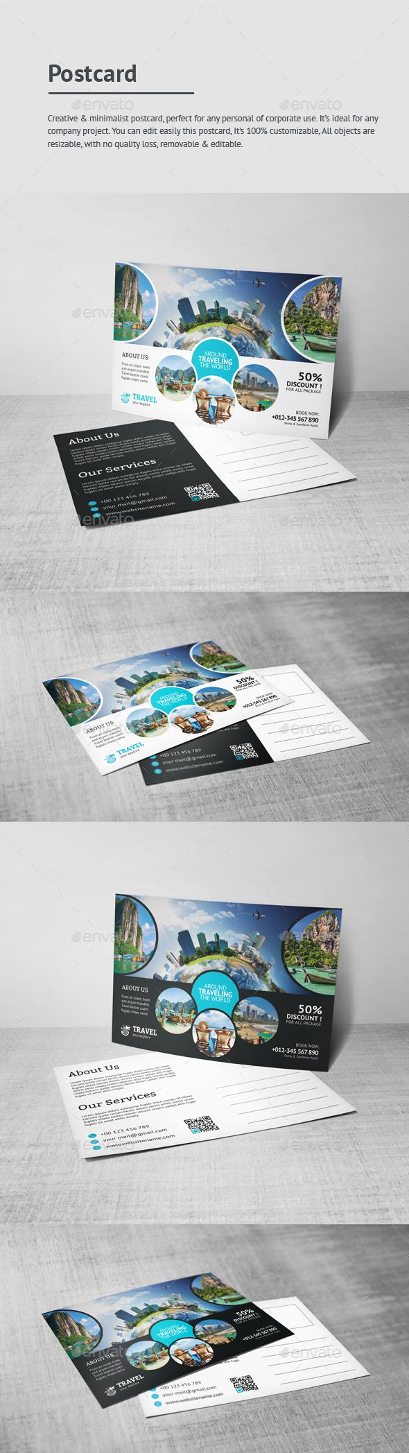 travel postcard postcard template business flyers and text fonts