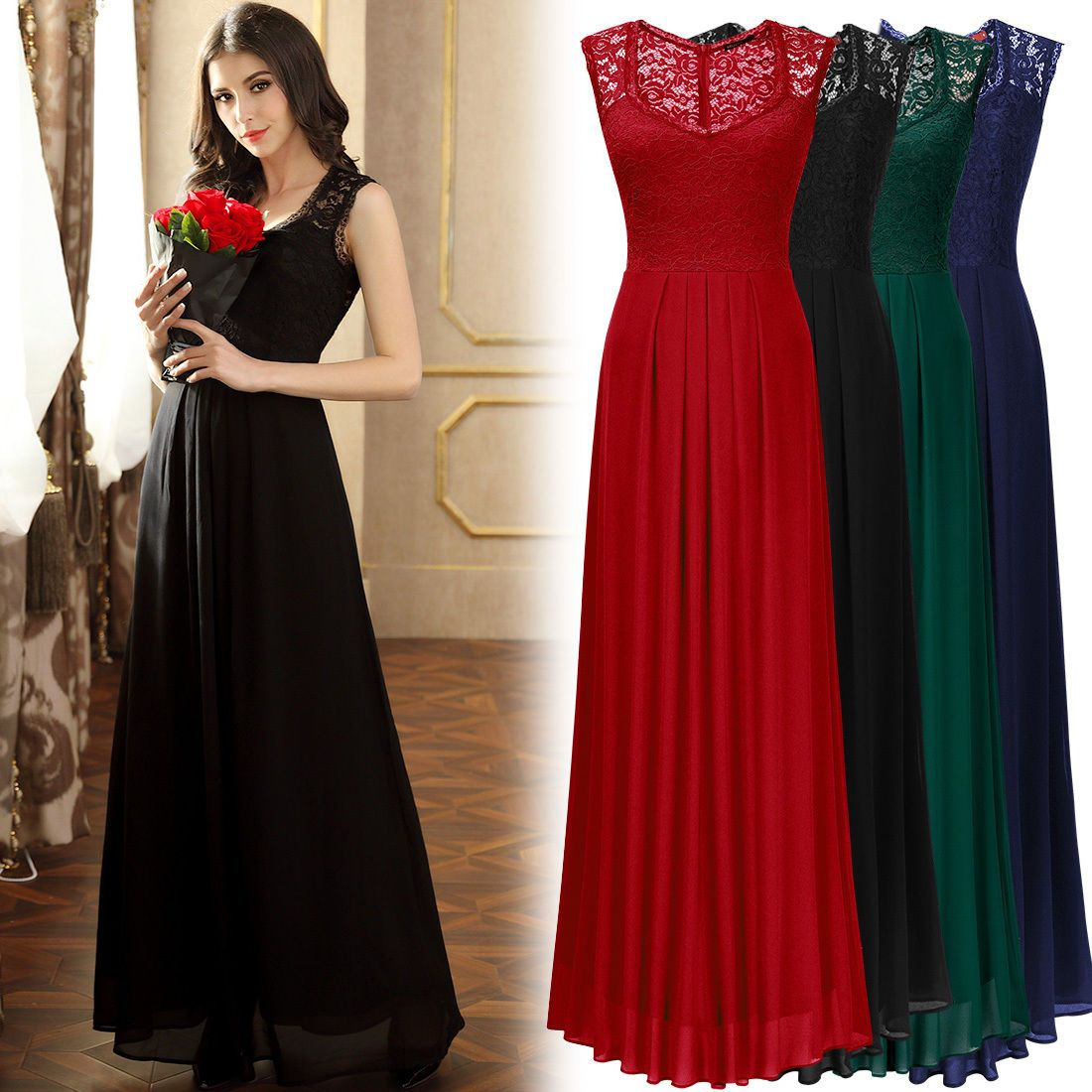 Cool amazing womens long chiffon lace formal evening prom party