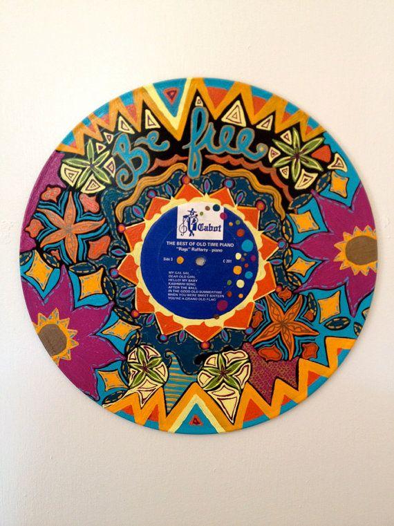 Hand Painted Vinyl Record Vinyl Record Crafts Vinyl Painted